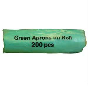 Green Disposable Polythene Aprons on a Roll - 200 per roll