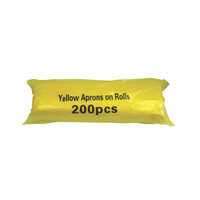 Yellow Disposable Polythene Aprons on a Roll - 200 per roll