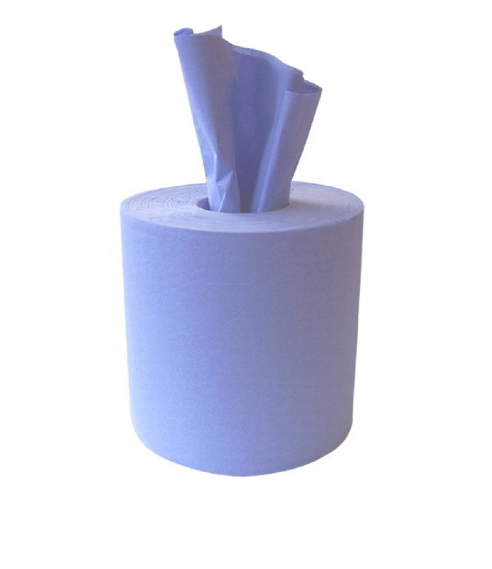 300mtr x 195mm 1ply Blue Centre Feed Rolls - Case of 6