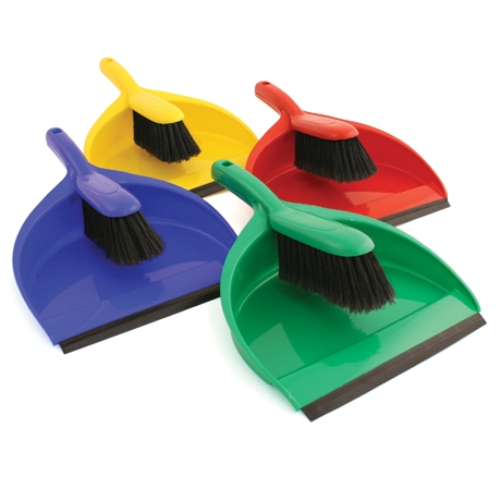 Plastic Colour Coded Dustpan and Brush Set