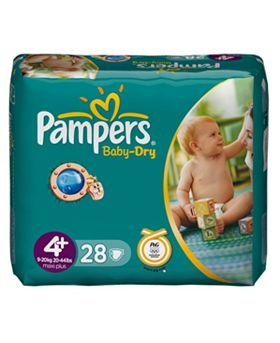 Pampers Baby–Dry Nappies / Size 4+, 9-20kg/20-44lbs - 3 per Bo